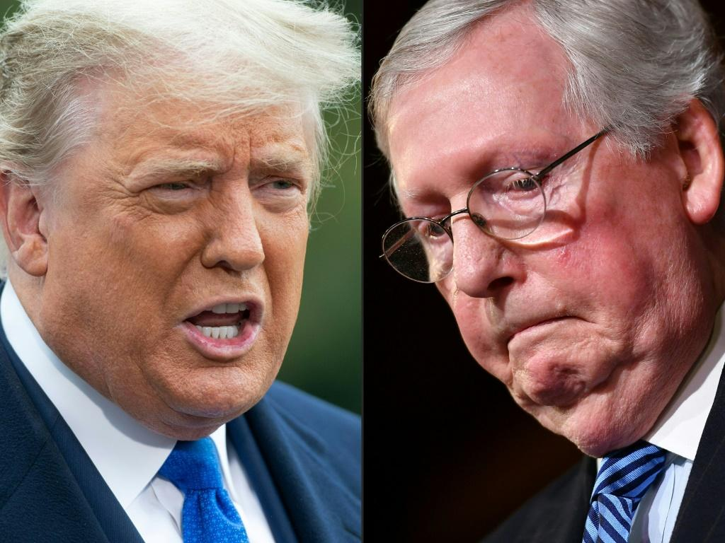 Former US president Donald Trump (L) has lashed out at Senate Republican leader Mitch McConnell (R) in remarks April 10, 2021 to fellow Republicans at his Florida resort